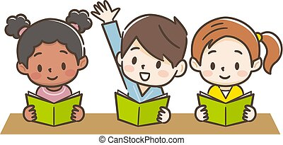 Illustration of children in class