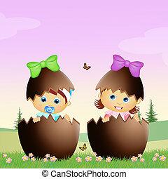 children in the Easter eggs