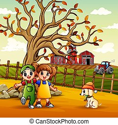 Illustration of children playing in the farm