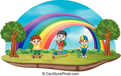 Children playing in the park on rainbow day