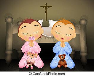 children recite the prayer - illustration of children recite...