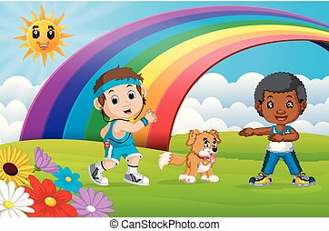 Children sport and dog in the park on rainbow day