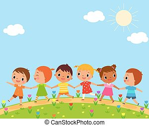 children walk on a beautiful spring day