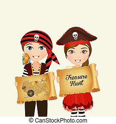 children with parchment treasure hunt