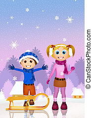 children with sleighs in the snow