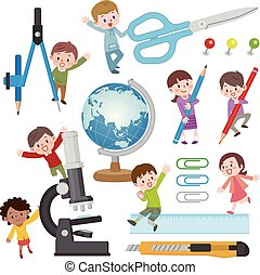Illustration of children with stationery