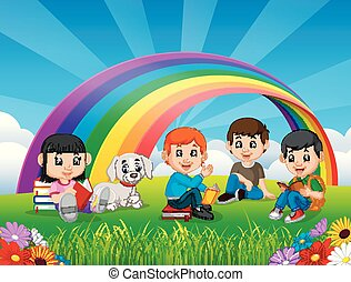 Childrens reading book in the park on rainbow day