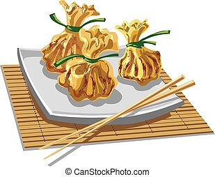 illustration of chineese dumplings - illustration of dim sum...