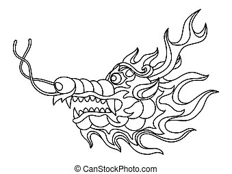 Illustration of Chinese dragon head.