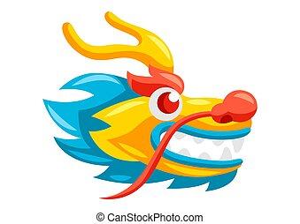 Illustration of Chinese dragon head.