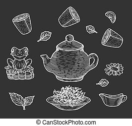 illustration of Chinese tea ceremony set on black background.
