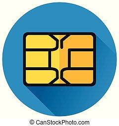 chip circle blue flat icon