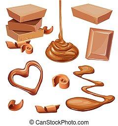 Illustration of chocolate in tile, shavings, liquid.