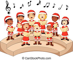 Choir girls and boys singing a song - Illustration of Choir...