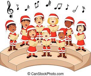 Choir girls and boys singing a song - Illustration of Choir...