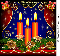 of christmas background with candles cones