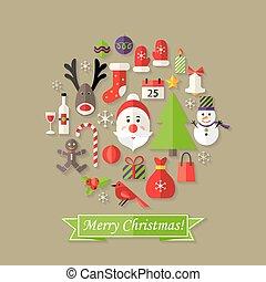 Christmas Ball Flat Icons Set with Santa Claus