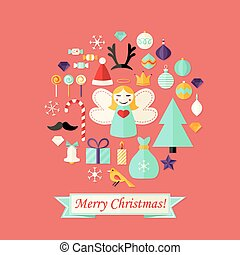 Christmas Card with Flat Icons Set and Angel Red