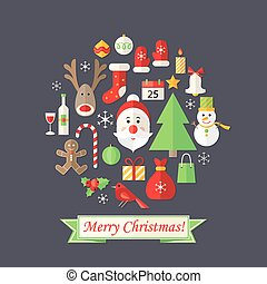 Christmas Card with Flat Icons Set and Santa Claus Dark Blue