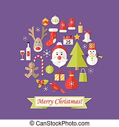 Christmas Card with Flat Icons Set and Santa Claus Purple -...