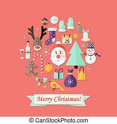 Christmas Card with Flat Icons Set and Santa Claus Red - ...