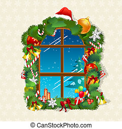 christmas card with gifts on window - illustration of...