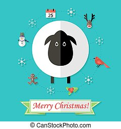Christmas Card with Sheep over Blue