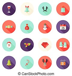 Christmas Circle Flat Icons Set 2