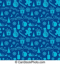 christmas congratulation blue seamless pattern