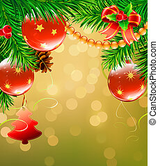 illustration of Christmas decorative background with evergreen branches, pine cones and Christmas decoration
