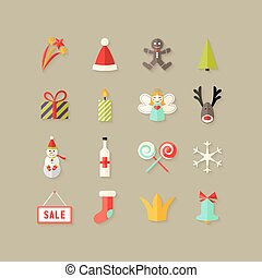 Christmas Flat Icons Set 3