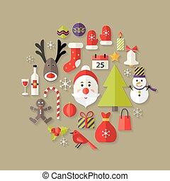 Christmas Flat Icons Set with Santa Claus