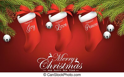 Christmas gifts on red background