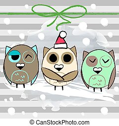 Christmas greeting card with owl and stripped background