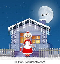 Christmas house - illustration of Christmas house