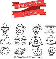 Illustration of Christmas icon set hand draw