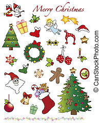 illustration of christmas icons isolated