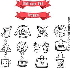 illustration of Christmas icons set