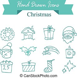 Illustration of Christmas icons vector