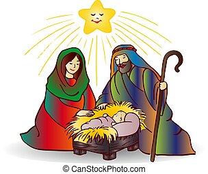 Illustration of christmas (Jesus Christ), cartoon on white background,