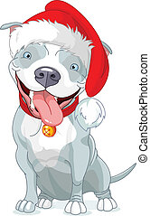 Christmas Pit Bull Dog - Illustration of Christmas Pit Bull...