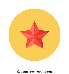 Illustration of Christmas Red Star Flat Circle Icon