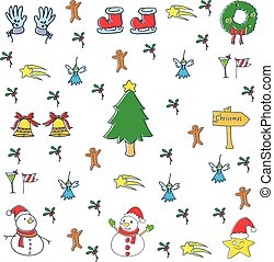 Illustration of christmas set vector art