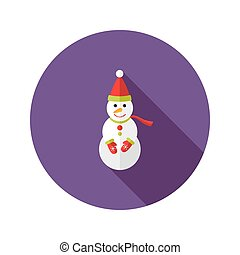 Christmas Snowman with Santa Claus Hat Flat Icon