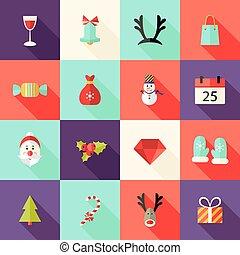 Christmas Square Flat Icons Set 2