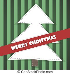 Christmas tree card on a green background