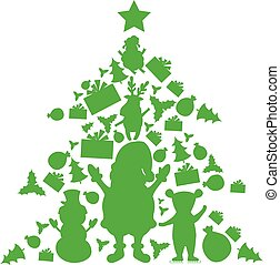 Illustration of christmas tree in christmas objects. Vector