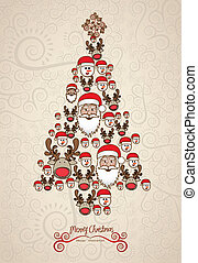 Illustration of christmas tree, made with christmas...