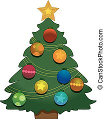 illustration of Christmas tree on a white background