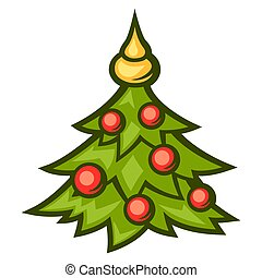 Illustration of Christmas tree with decorations.